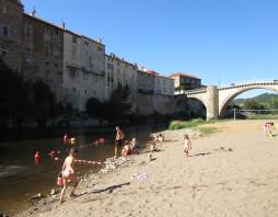 Zwemmen in de Allier bij Lavoute-Chilhac